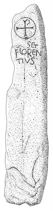 Scanned ink drawing of Kirkmadrine 6 inscribed cross slab