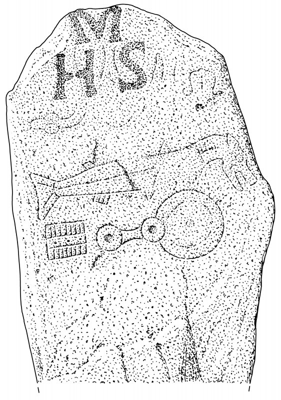 Scanned ink drawing of Upper Manbean Pictish symbol stone