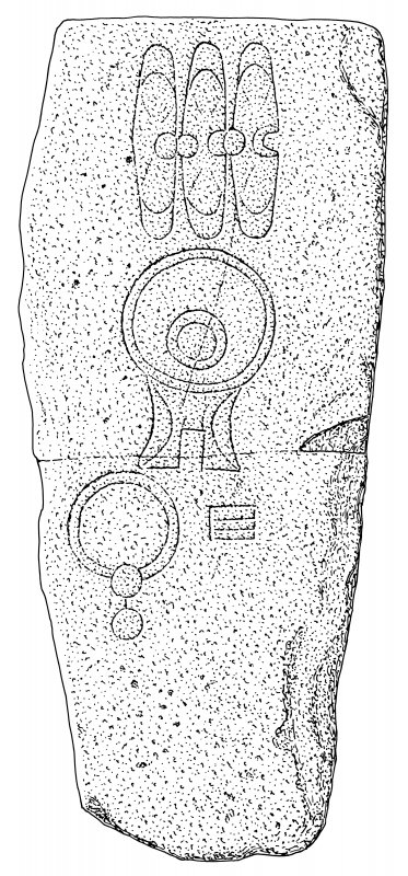 Scanned ink drawing of Sandside House Pictish symbol stone