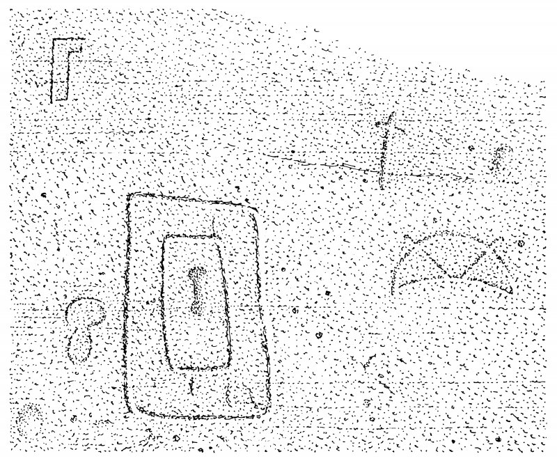 Scanned ink drawing of Pictish symbols (double rectangle, crescent & V-rod, stepped rectangle, mirror case?) and incised cross in Sculptor's Cave