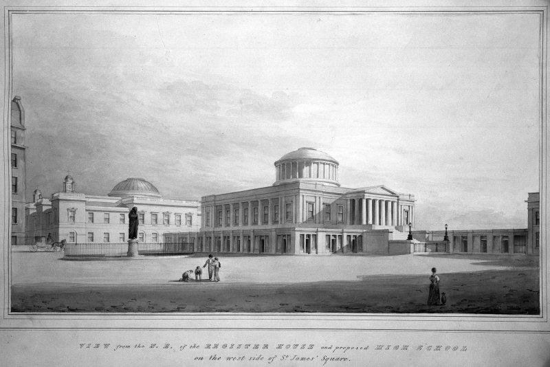 Royal High School/Register House Photographic copy of watercolour by Thomas Hamilton Titled: 'View from N. E. of the Register House and proposed High School on the West side of St. James' Square.'  Titled: 'New High School &c.'  'View