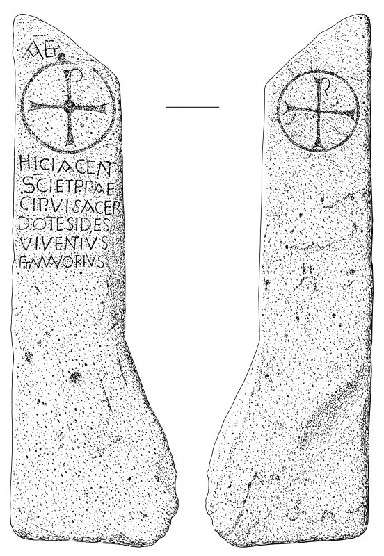 Scanned ink drawing of Kirkmadrine 7 inscribed cross slab, face a & b