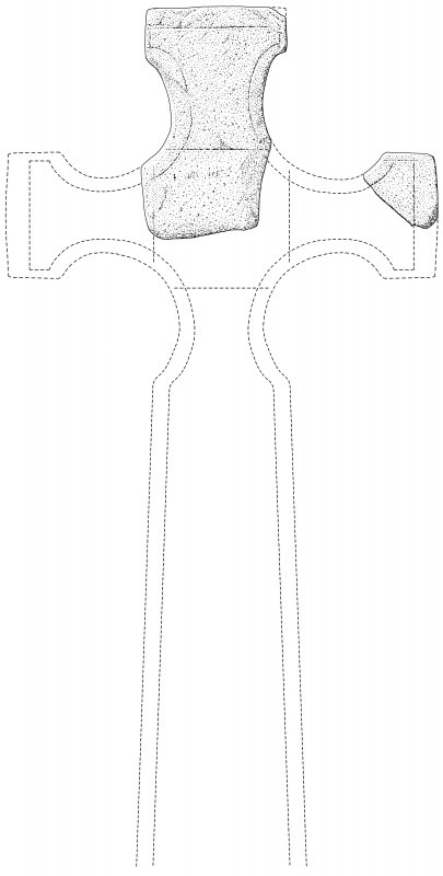 Scanned ink drawing  of freestanding cross fragments from Inchnadamph showing conjectural reconstruction of cross
