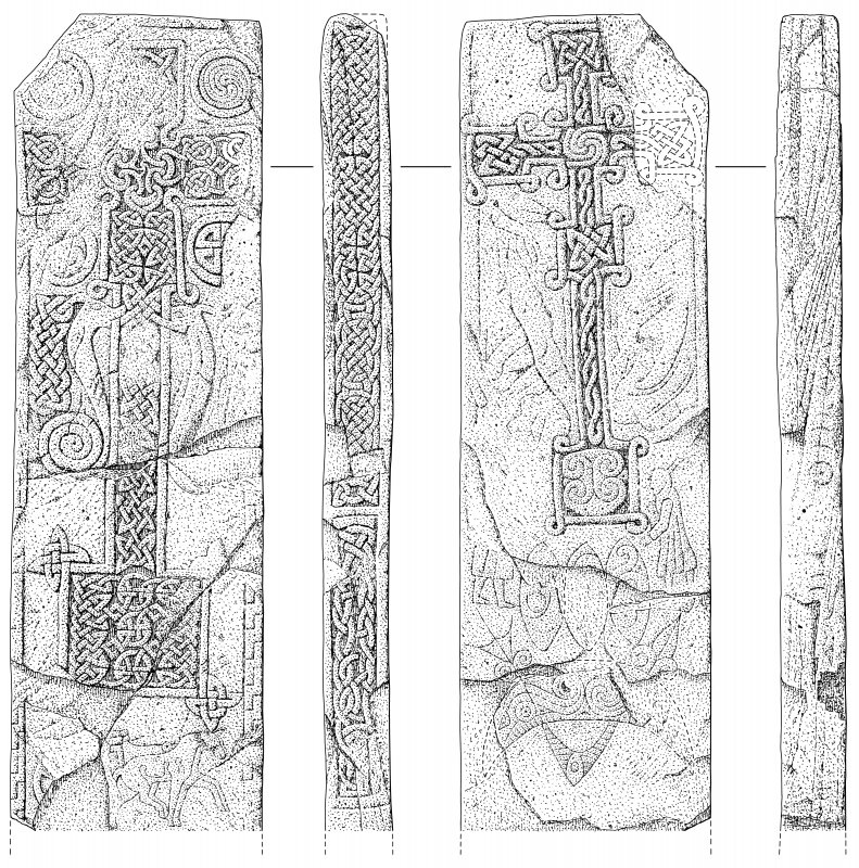 Scanned ink drawing of Skinnet 1 Pictish cross slab: face a, b, c & d