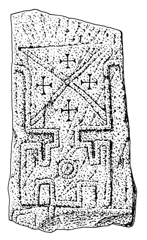 Scanned ink drawing of Kirkmadrine 12 cross slab
