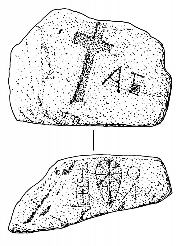 Scanned ink drawing of Kirkmadrine 5 carved stone