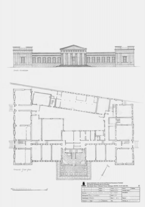 Dundee High School: Ground floor plan and South elevation