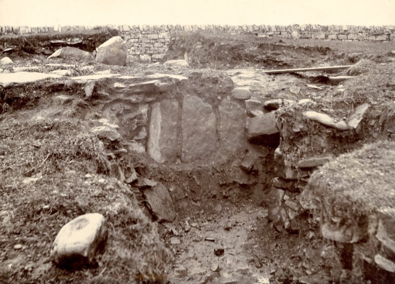 Scanned image of photograph of part of Keiss White Broch, Keiss Caithness