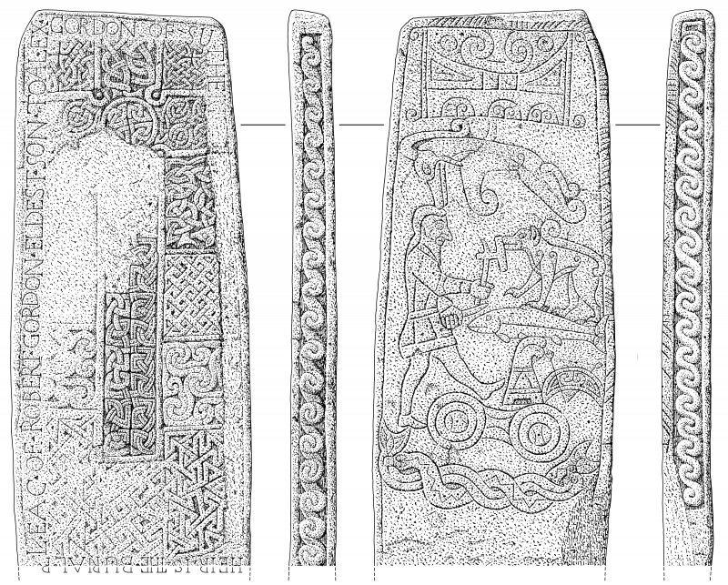 Scanned ink drawing of Golspie Pictish cross slab: face a, b, c & d