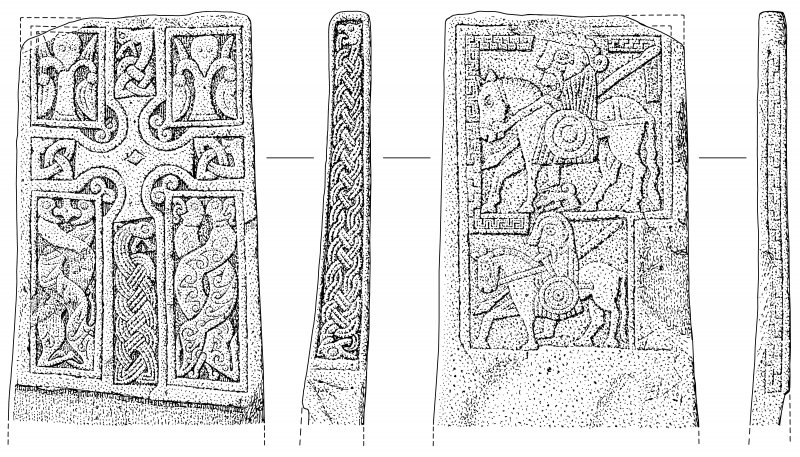 Scanned ink drawing of Benvie Pictish cross slab, face a, b,  c & d