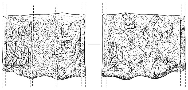Scanned ink drawing of Monifieth 3 Pictish cross slab fragment, face a & b