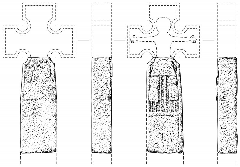 Scanned ink drawing of Monifieth 5 inscribed Pictish freestanding cross fragment, face a, b, c & d