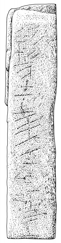 Scanned ink drawing of possible ogham inscription on face d of Monifieth 5 inscribed Pictish freestanding cross fragment