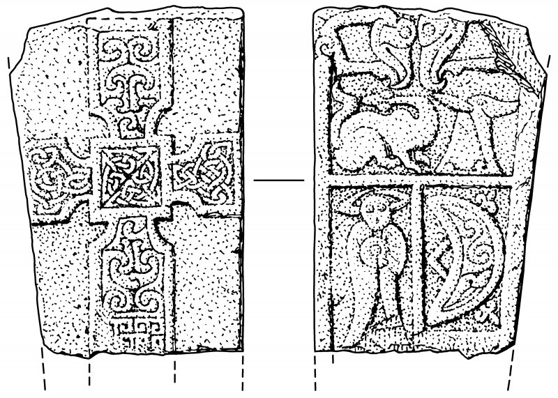 Scanned ink drawing of Monifieth 2 Pictish cross slab, face a & b