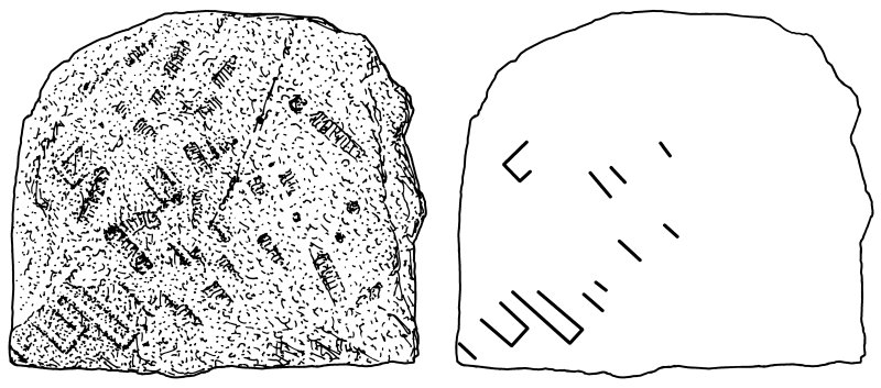 Scanned ink drawing of Pictish stone fragement built into S wall of St Vigeans Church with diagonal key pattern
