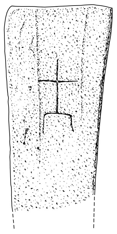 Scanned ink drawing of cross-incised gravemarker (No. 1), Eilean Fhianain.
