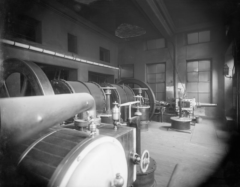 Interior view of machinery at New Street Gasworks, Edinburgh.