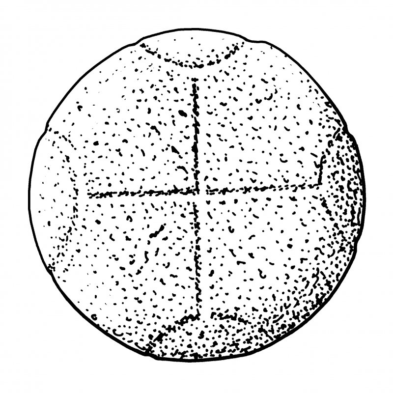 Scanned ink drawing of cross-incised circular stone