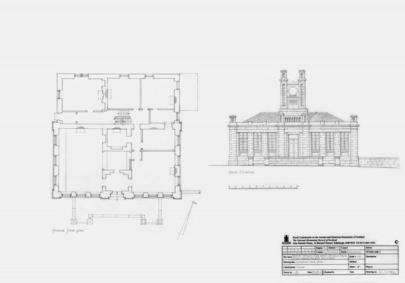 Douglas House Free School: South elevation and Ground floor plan