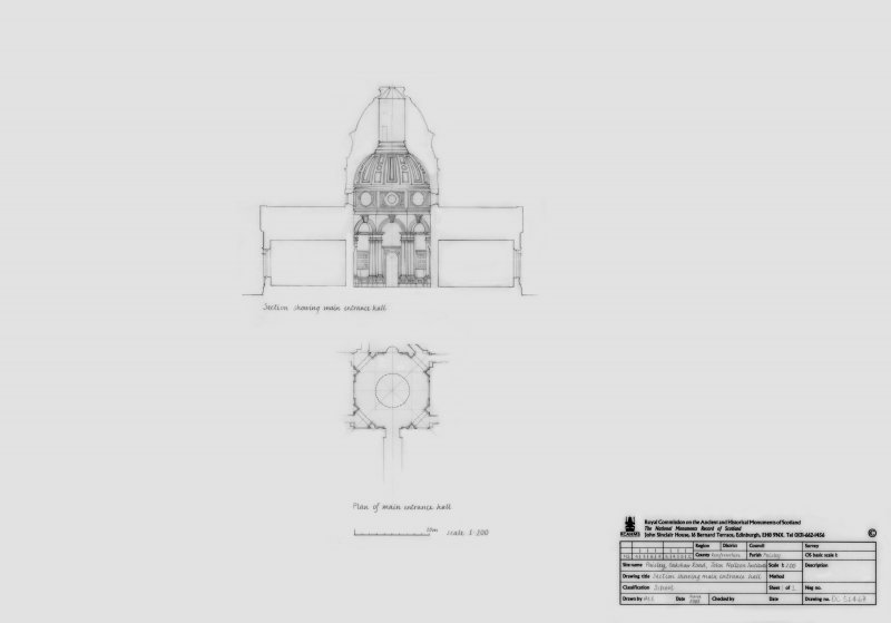 John Neilson Institiute: Plan and Section of main entrance hall