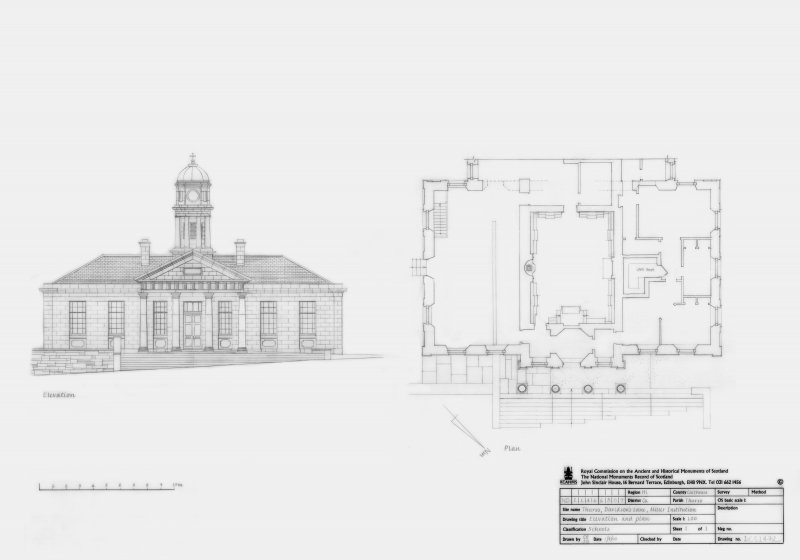 Thurso, Miller Institute: Principal elevation and Ground floor plan