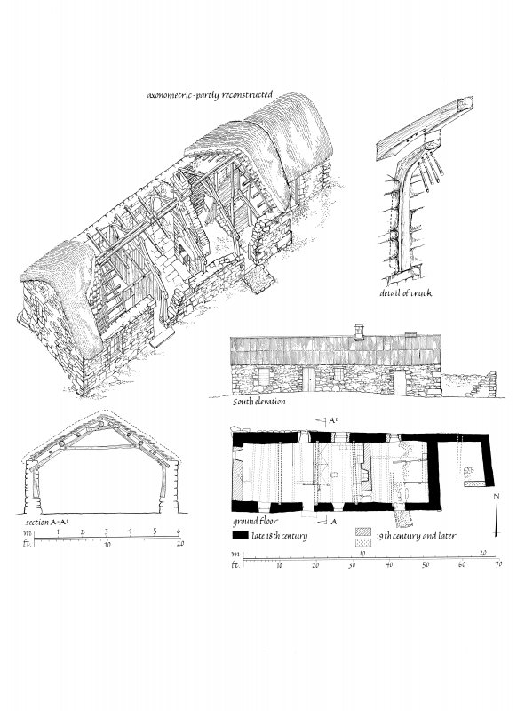 Drawing of building D composed of axonometric partial reconstruction, detail of cruck, South elevation, ground floor plan and section. Auchindrain.