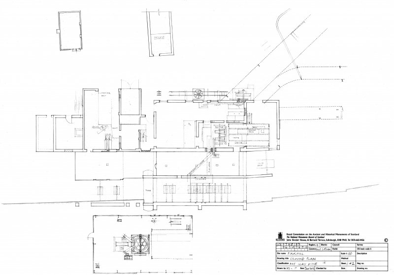 Birkhill, fire clay mine. Scan of measured survey drawing (1 of 2), ground plan of processing plant.