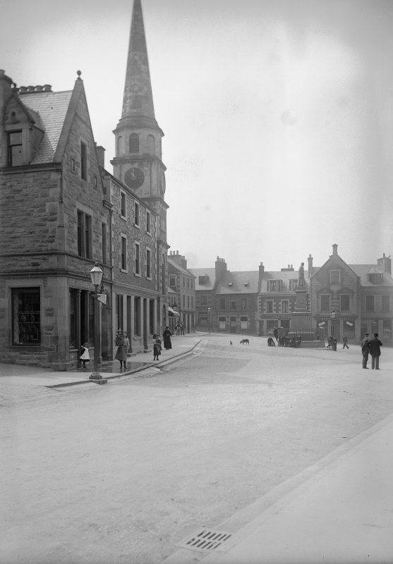 General view of market place with tollbooth and monument to Sir Walter Scott