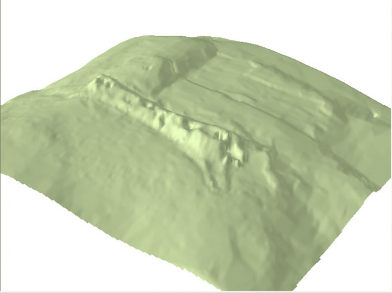 Image showing a 3D model of South Yarrows South Long Cairn and the surrounding area. Note - this is a low resolution image.