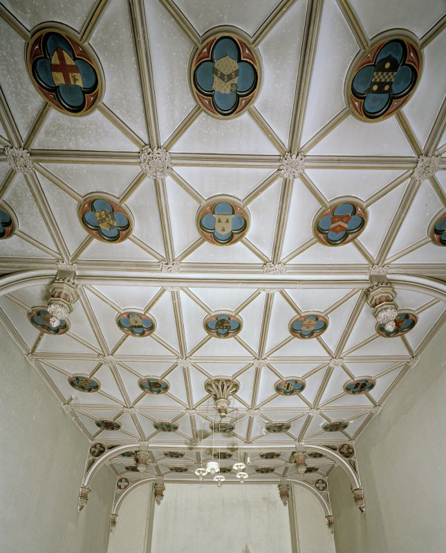 View of ribbed plaster ceiling with heraldic panels set in quatrefoils in Northwest room the original dining room. Viewhill, Edinburgh.
