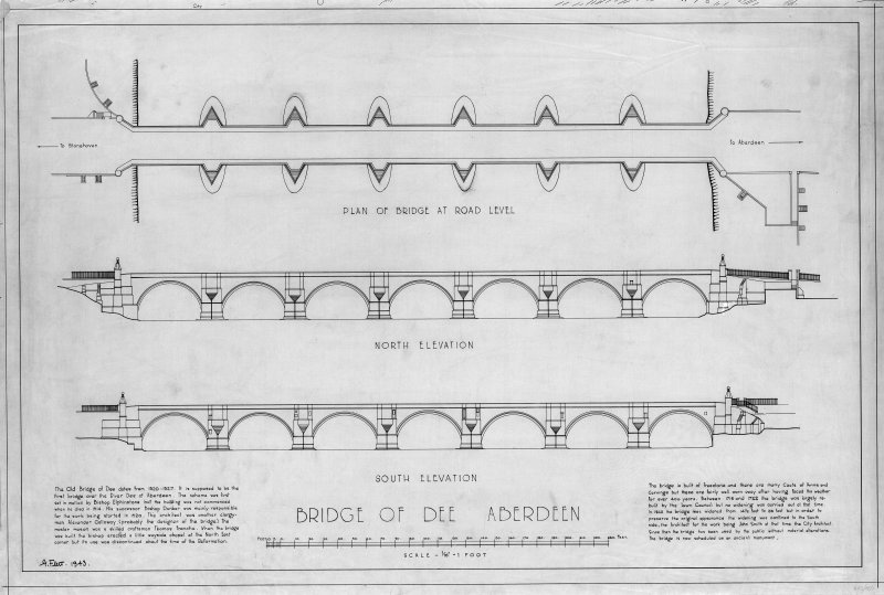 Aberdeen, Bridge of Dee. Photographic copy of Plan, North and South elevations. Insc: 'Bridge of Dee Aberdeen; Plan of Bridge at Road Level; North Elevation; South Elevation'.