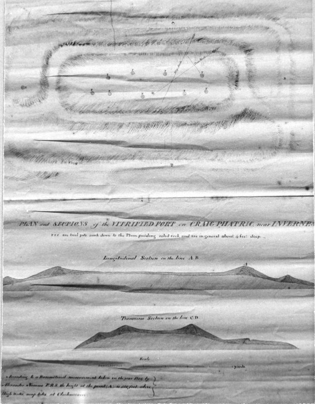 Plan and sections of the Vitrified Fort on Craig-Phatric near Inverness. (See also MS/974/1). Photographic copy of drawing.