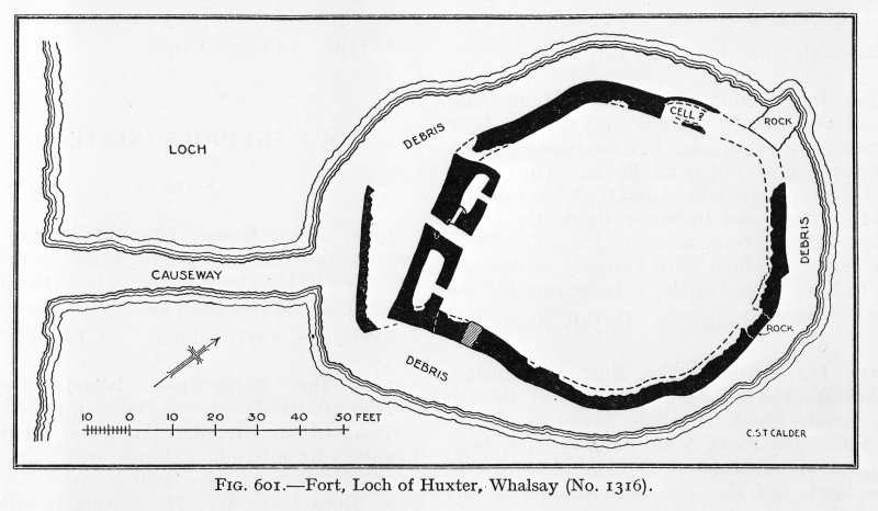 Photographic copy of plan of Loch of Huxter galleried dun.