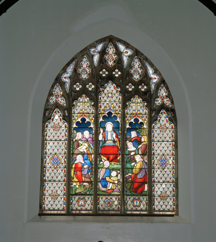 Interior. W transept galley stained glass window by J Ballantine & Co 1873 Our Lord Teaching