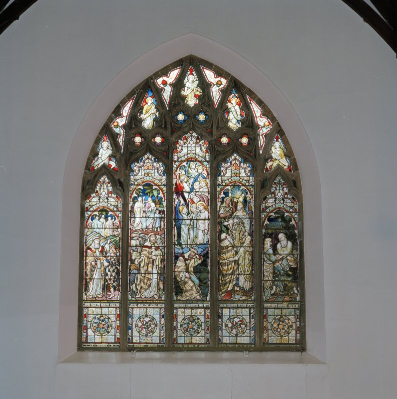 Interior. E transept galley stained glass window by Camm Bros c.1880 Old Testament Scenes