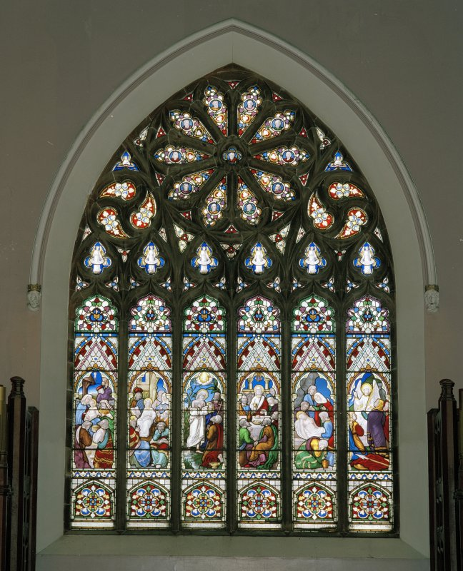 Interior. N stained glass window above organ by J Ballantine & Co 1868 Life of Our Lord