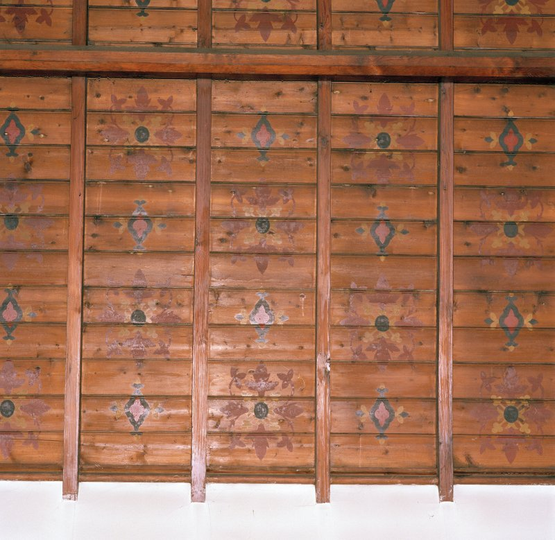 Interior. Timber boarded ceiling with stencil decoration