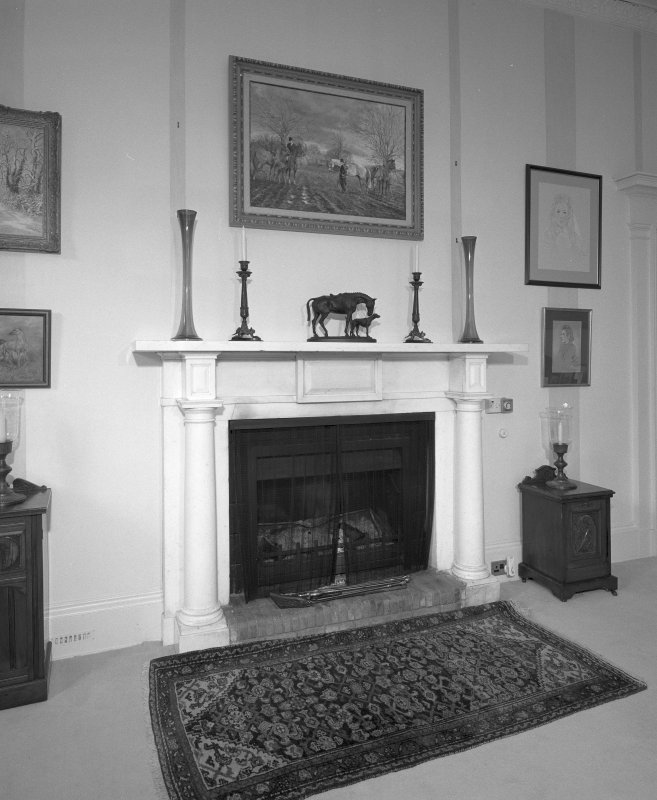 Interior. East wing Drawing room early 19th century marble fireplace