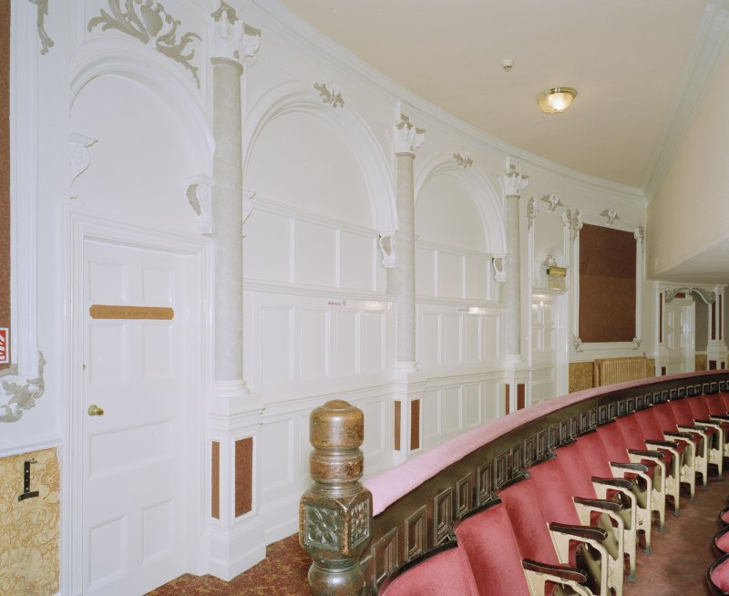 Interior.  Auditorium, Circle, rear wall, view from W