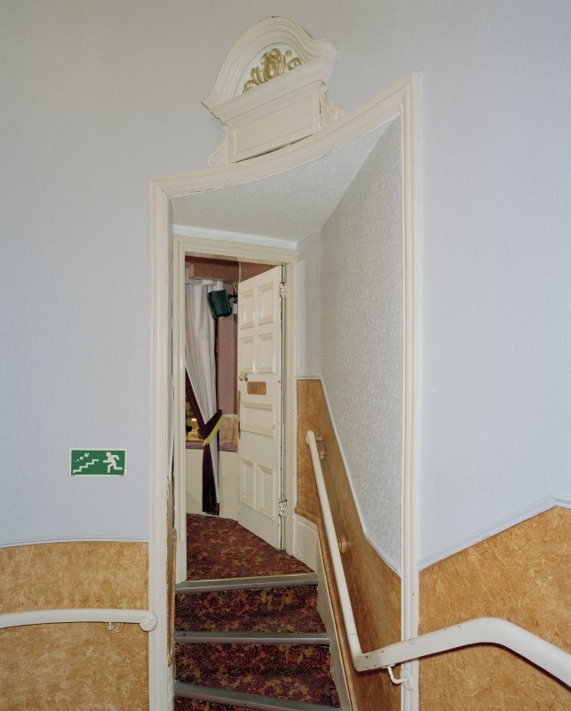 Interior.  Auditorium, W staircase, view of doorway and stair leading to box