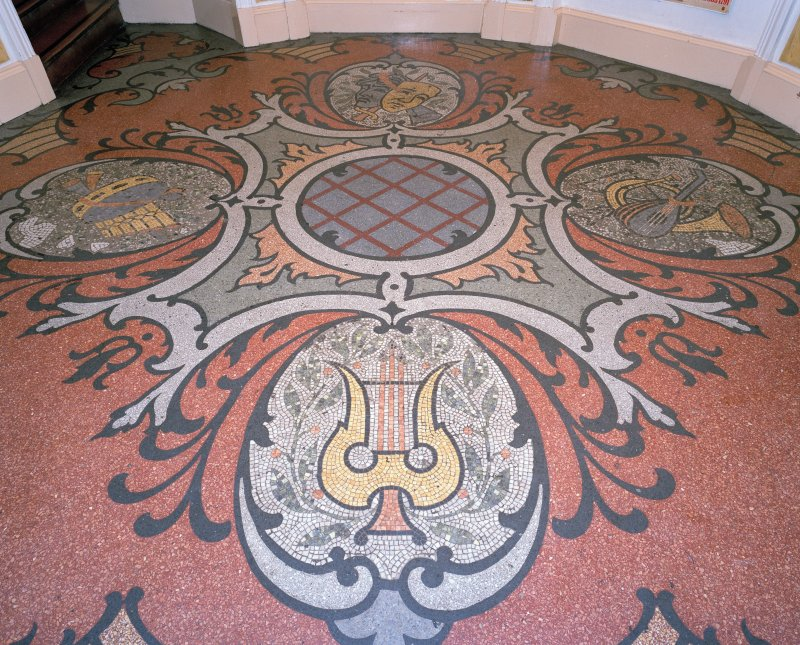 Interior.  Foyer, detail of mosaic floor