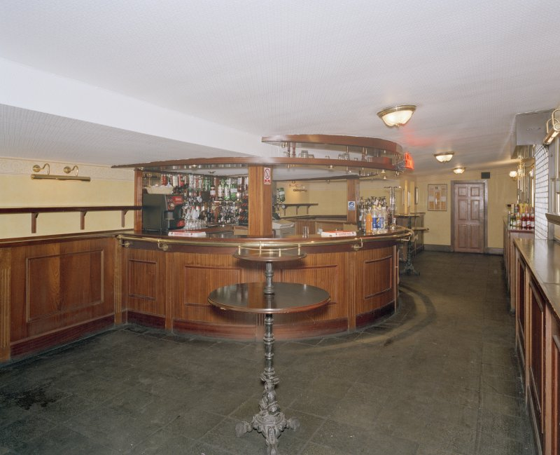 Interior.  Stalls bar, view from E