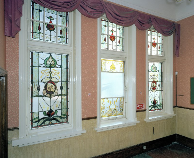 Interior.  Circle, entrance hall, view of stained glass