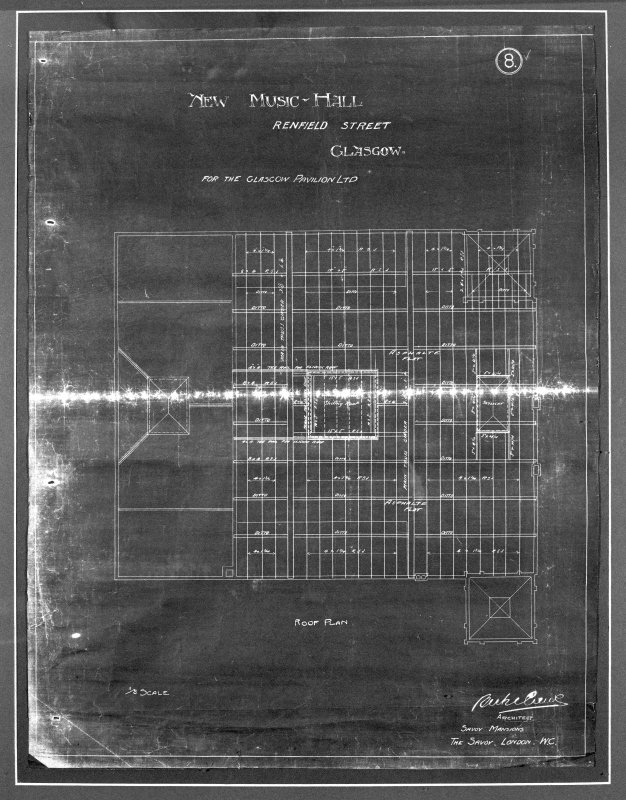 Photographic copy of a blueprint of the roof plan from Bertie Crewe's office in 1904
