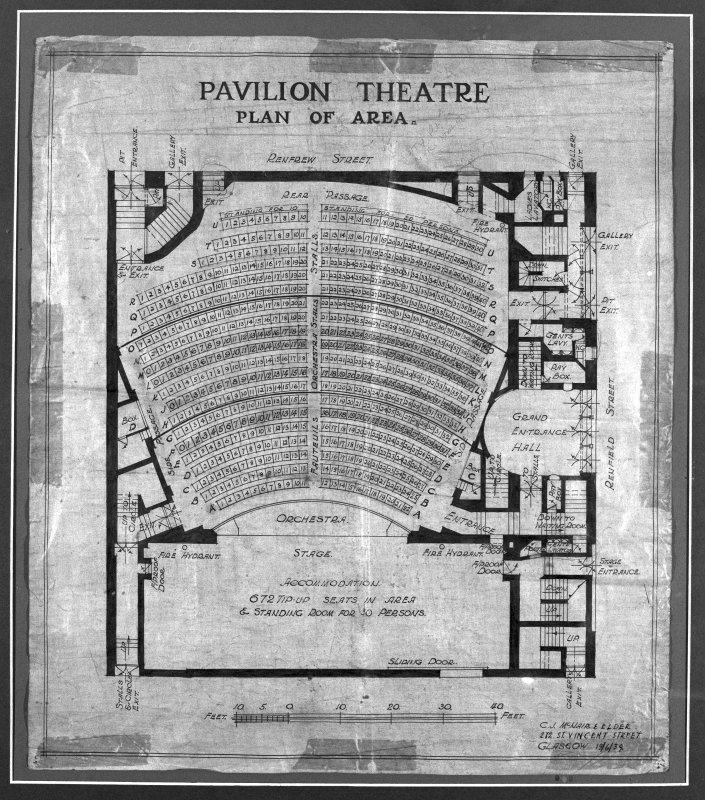 Photographic copy of drawing showing the seating plan