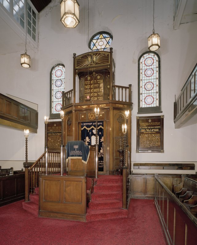 Interior. SE end.  View of Pulpit and Ark