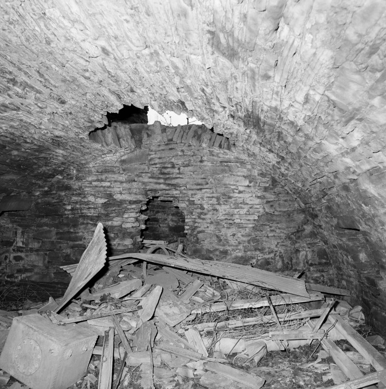 Interior. View of basement vault from W
