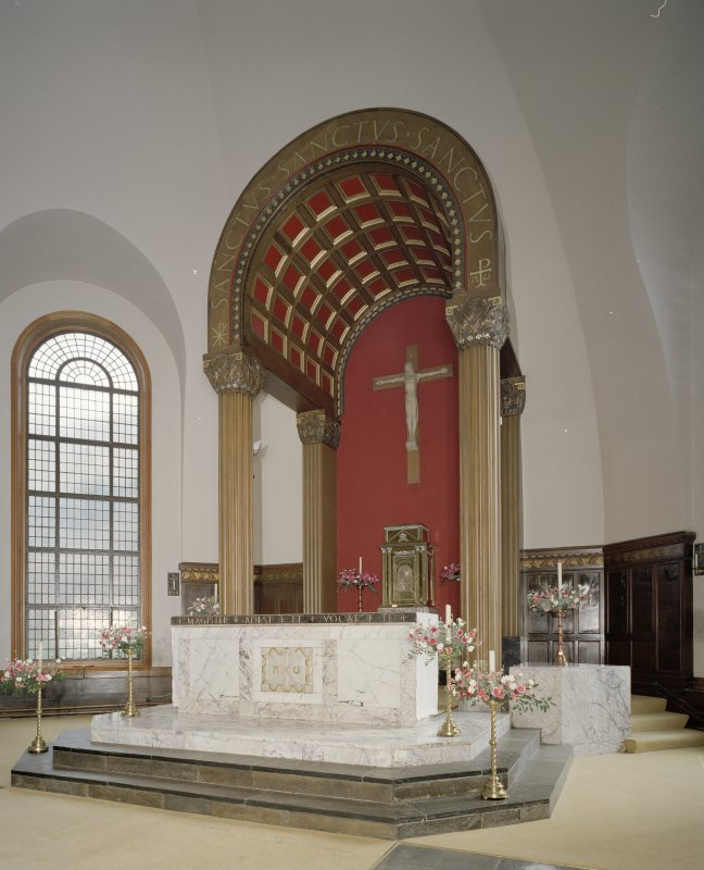 Church. Interior. View of altar and baldacchino