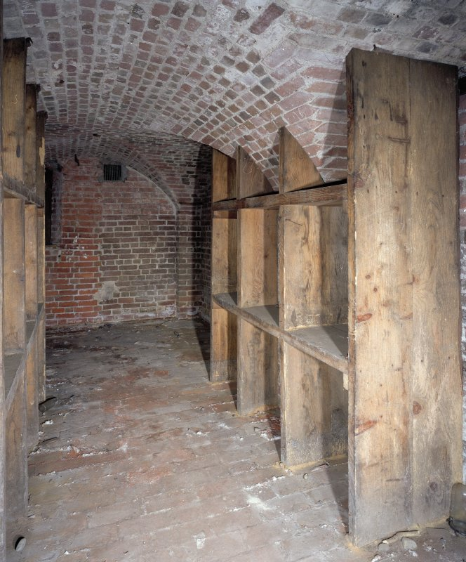 Interior. View of basement showing brick vaulting