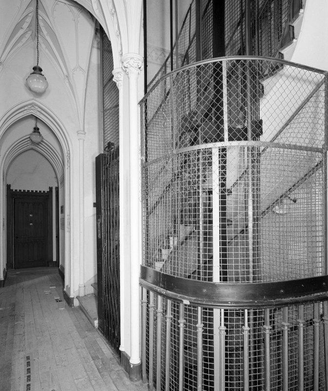 Interior. View of staircase from first floor